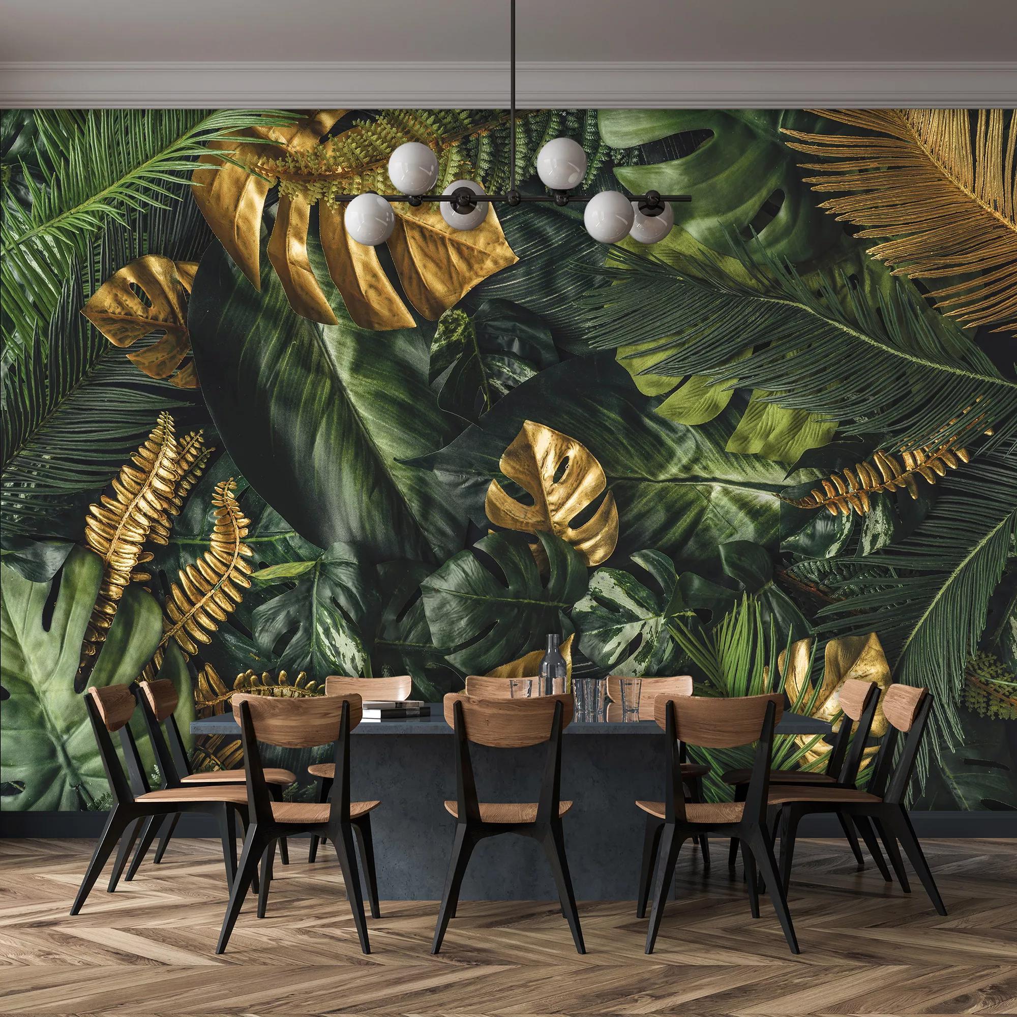 Zöld arany trópusi pálmalevél mintás fotótapéta