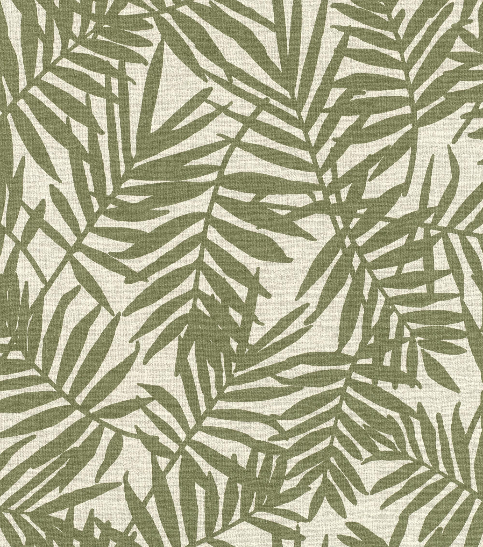 Zöld levélmintás botanikus tapéta