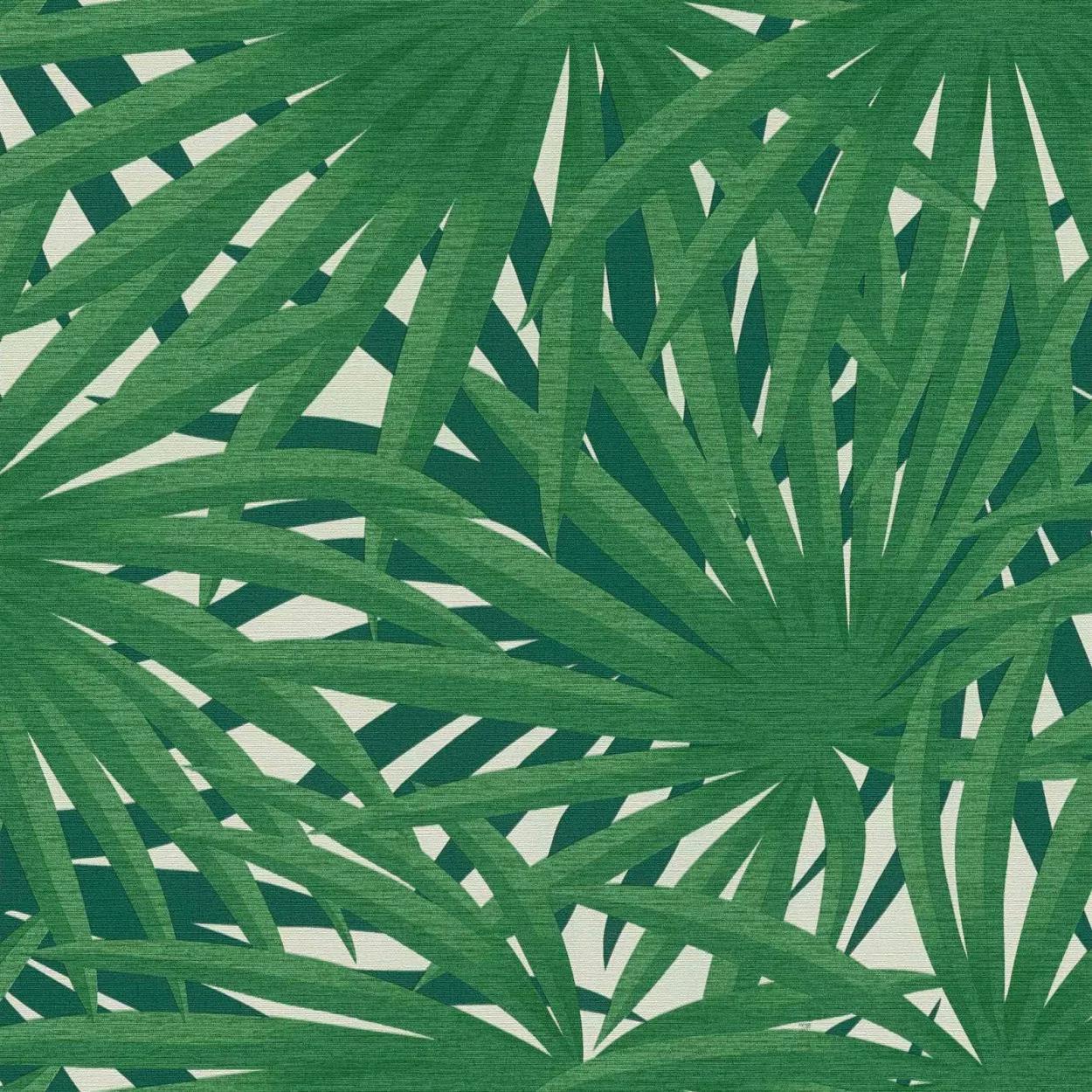 zöld pálmalevél mintás tapéta fürdőszobába