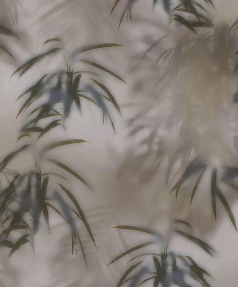barna pálmaleveles tapéta fürdőszobába