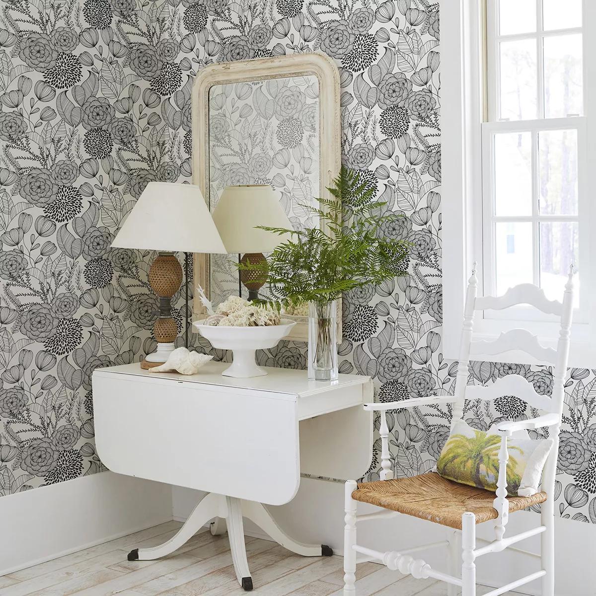 skandi design tapéta virágmintás fekete fehér