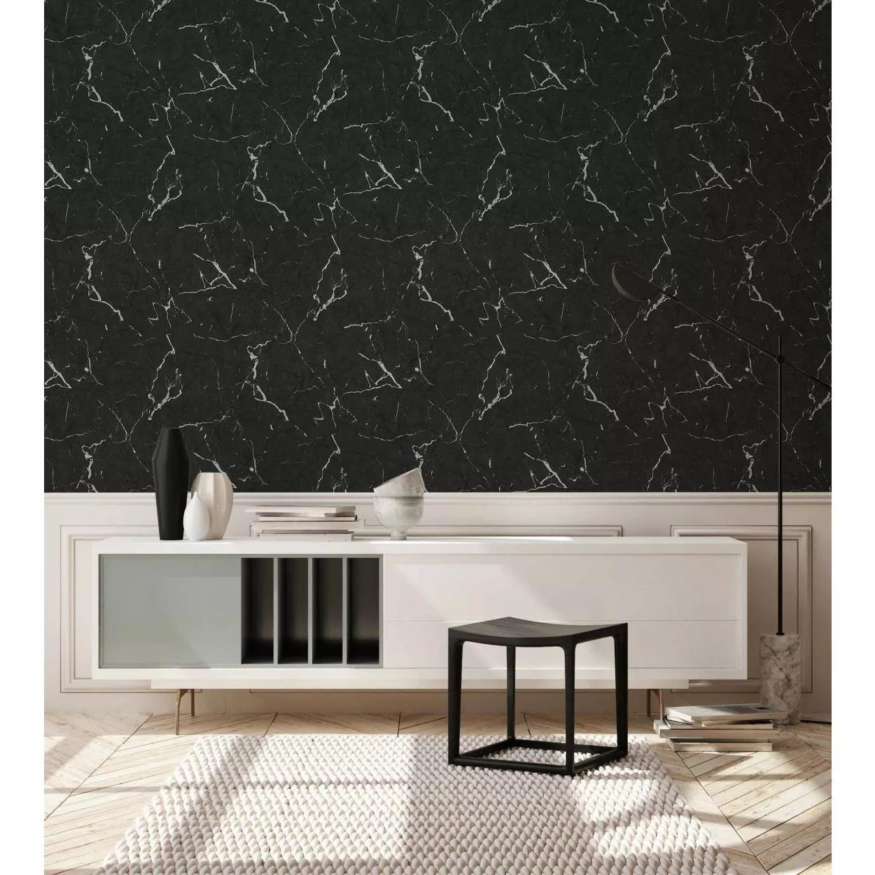 Fekete márvány mintás tapéta