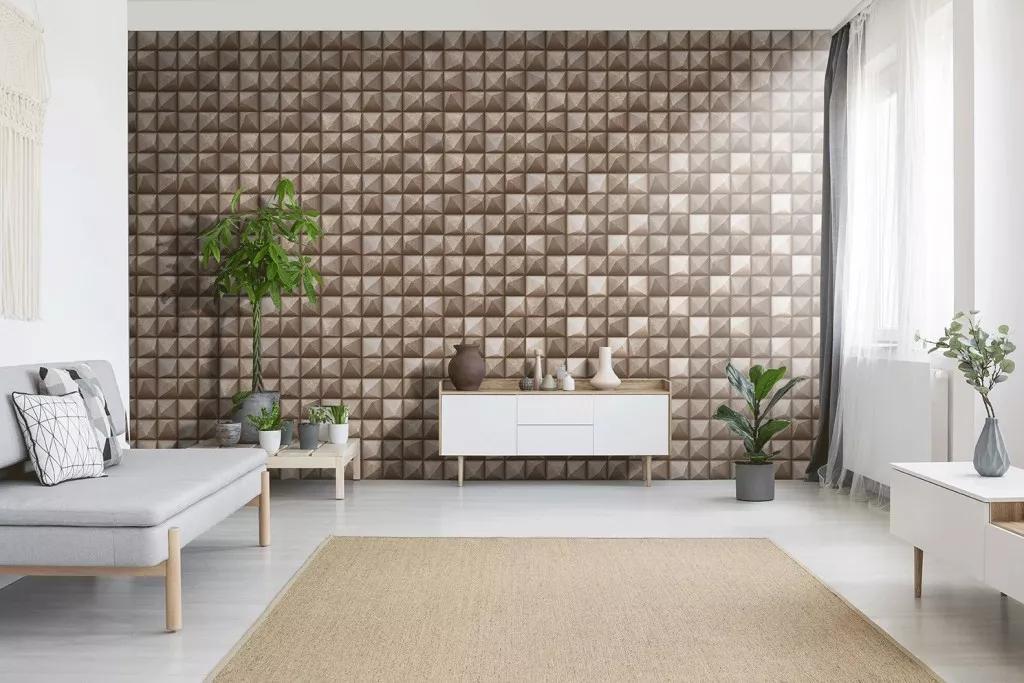 3D geometrikus betonhatású fényes felületű high-tech vlies vinyl dekor tapéta