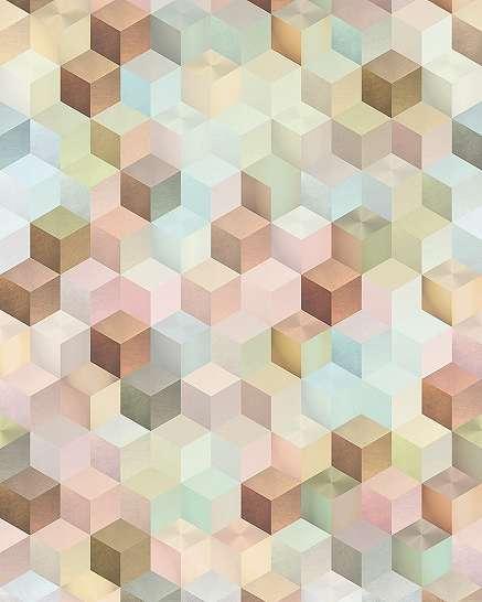 3D hatású modern kocka mintás fali poszter