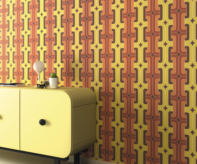 60-as 70-es évek sárgás színvilágú retró mintás tapéta