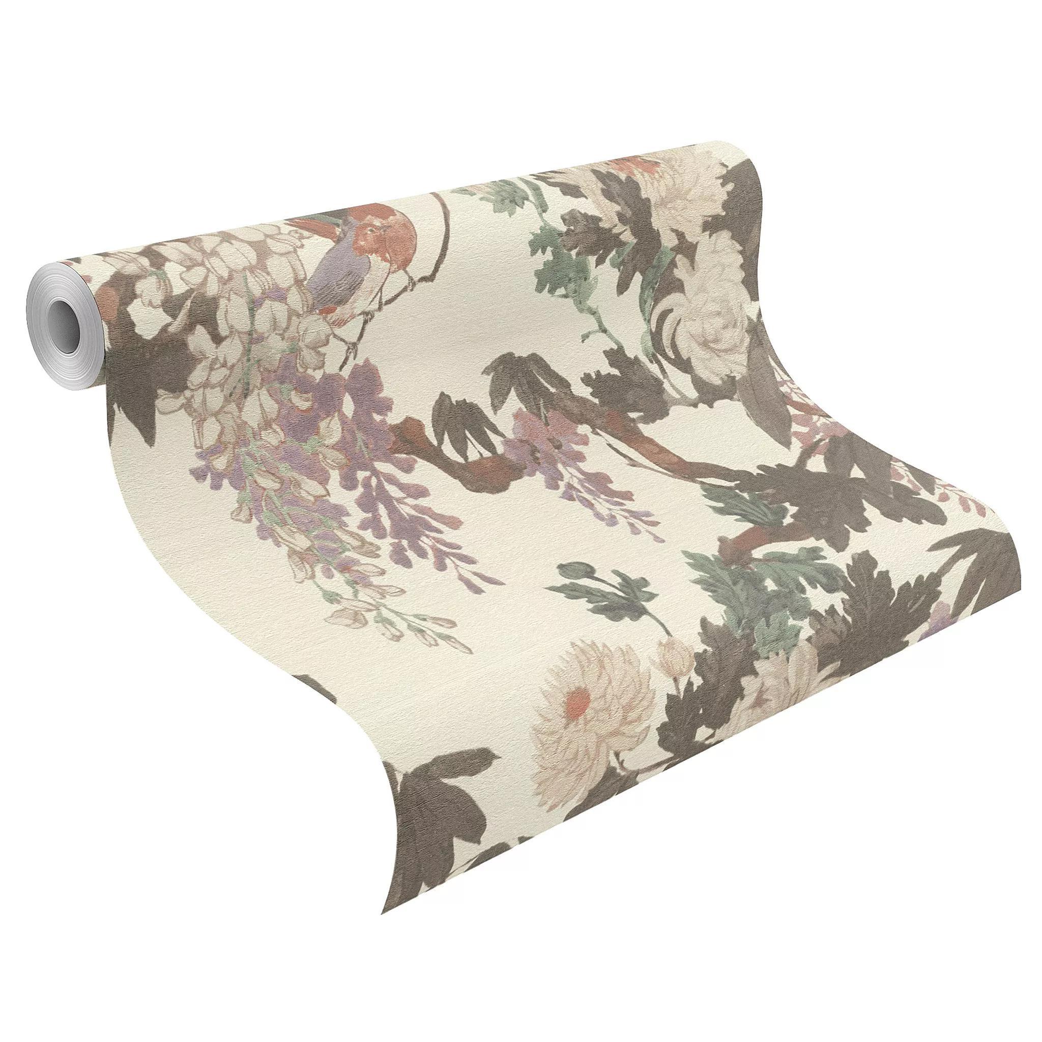 70cm-es luxus tapéta klasszikus virág madár mintával