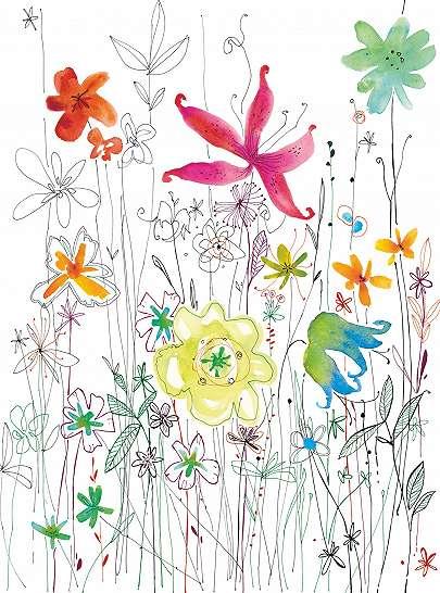 Absztrakt rajzolt virágok