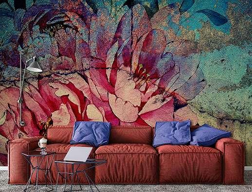 Absztrakt virágmintás fali poszter beton hatású alapon
