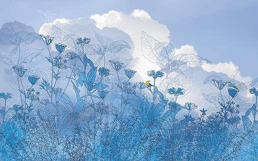 Absztrakti tájkép kék színekben fali poszter