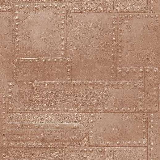 Acéllemez mintás vlies tapéta réz barna színvilágban
