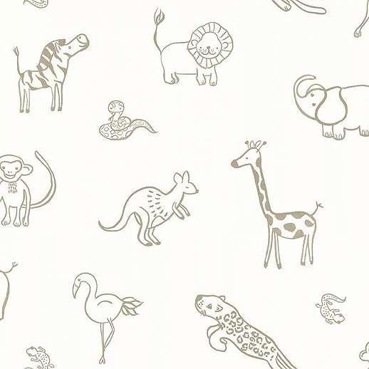 Afrika állat mintás, oroszlán elefánt, zsiráf gyerek tapéta krém arany színben