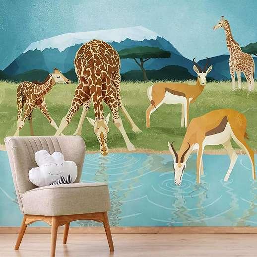 Afrikai állat mintás fali poszter gyerekszobába, zsiráf, antilop, zebra mintával