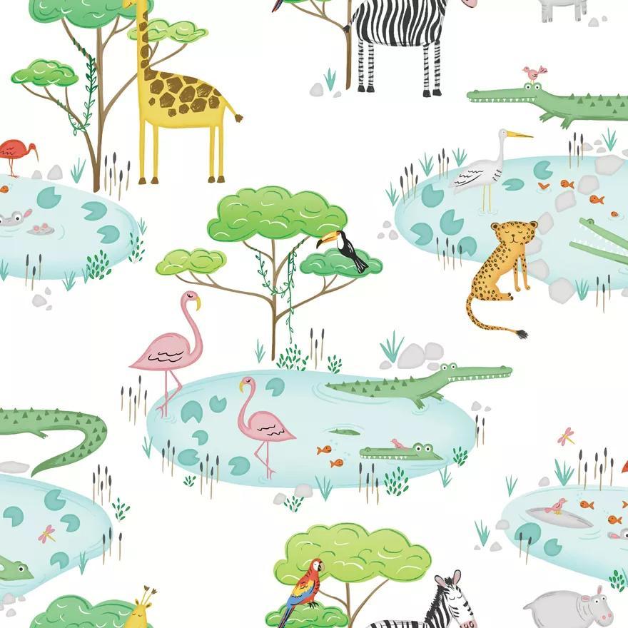 Afrikai állat mintás gyerektapéta, zsiráf, gepárd, krokodil, zebra, flamingó