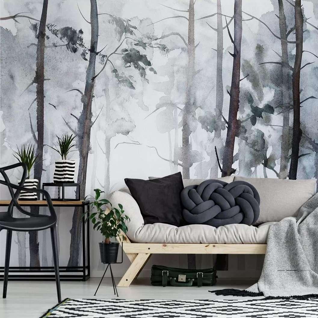 Akvarell hatású erdei táj mintás fali poszter