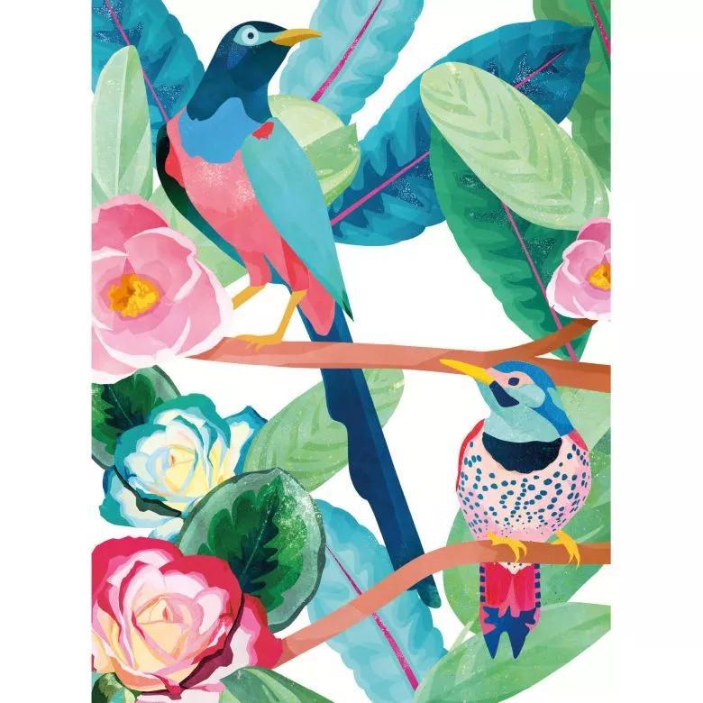 Akvarell hatású madár és virágmintás színes fali poszter