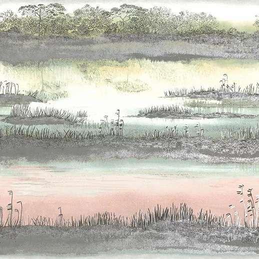Akvarell hatású metál fényű naplemente mintás luxus tapéta