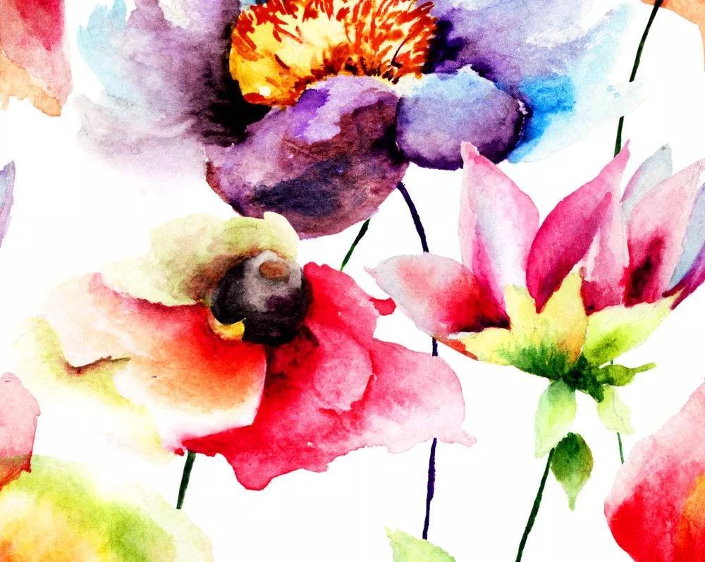 Akvarell hatású modern virágmintás vlies fali poszter