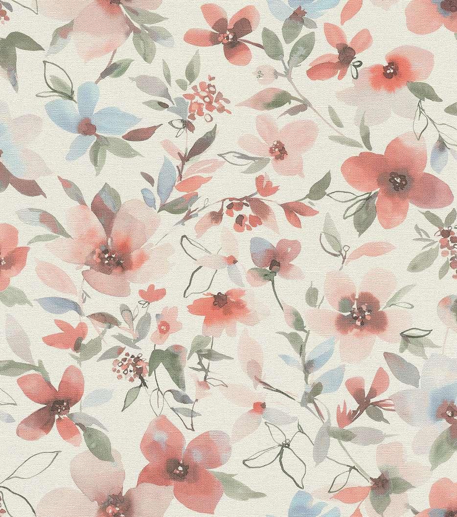 Akvarell hatású piros virágmintás tapéta