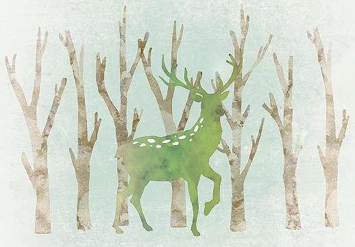 Akvarell hatású szarvas mintás fali poszter