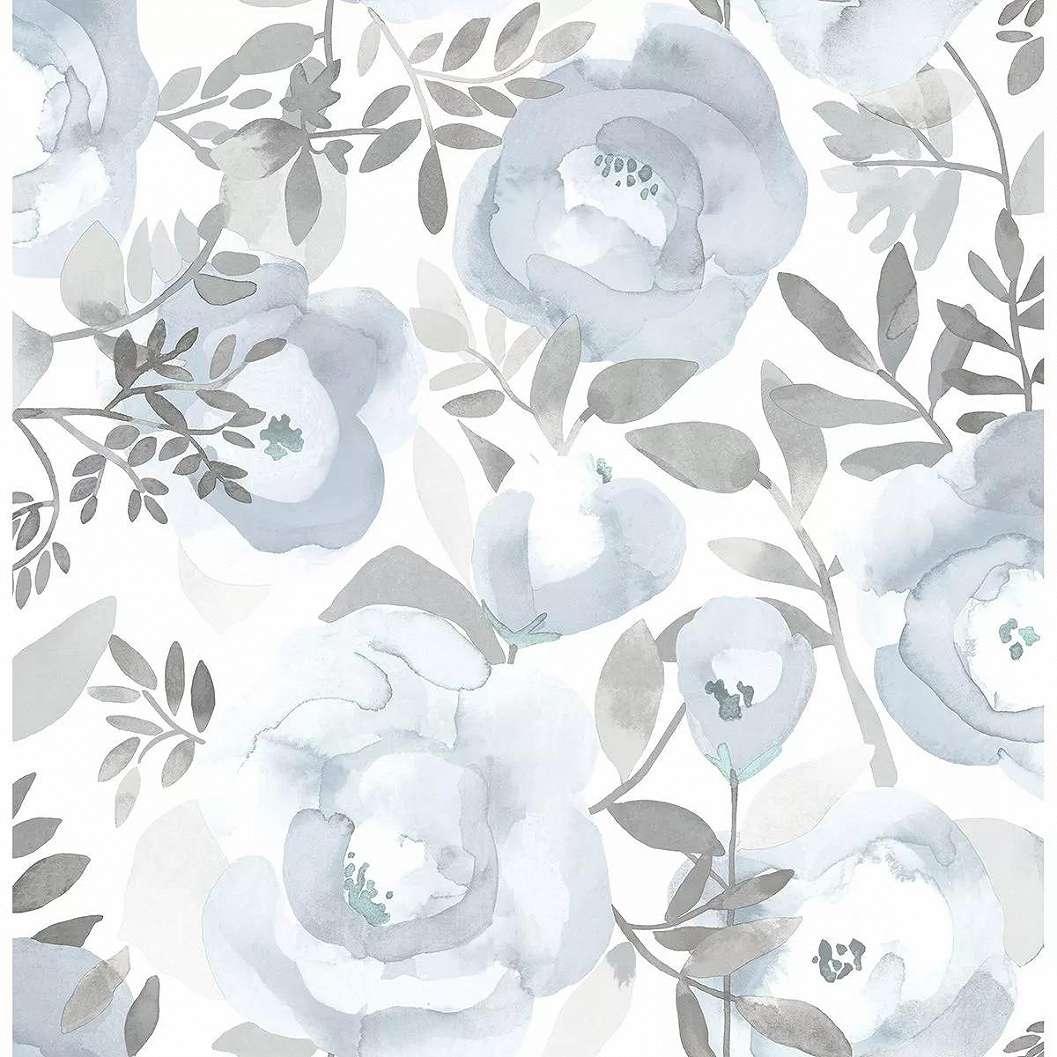 Akvarell hatású virágmintás vlies tapéta világoskék rózsa mintával