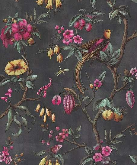 Antracit alapon klasszikus hangulatú madár és virágmintás vlies design tapéta