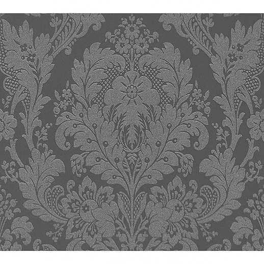 Antracit klaszikus barokk mintás tapéta habosított felülettel