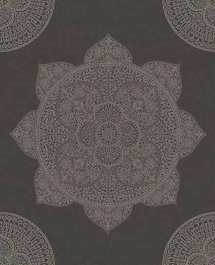 Antracit mandala mintás vlies luxus tapéta