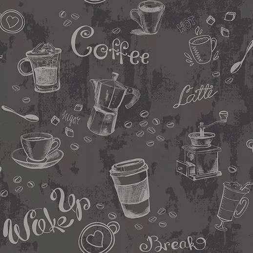 Antracit színű vlies tapéta kávé felirat mintával