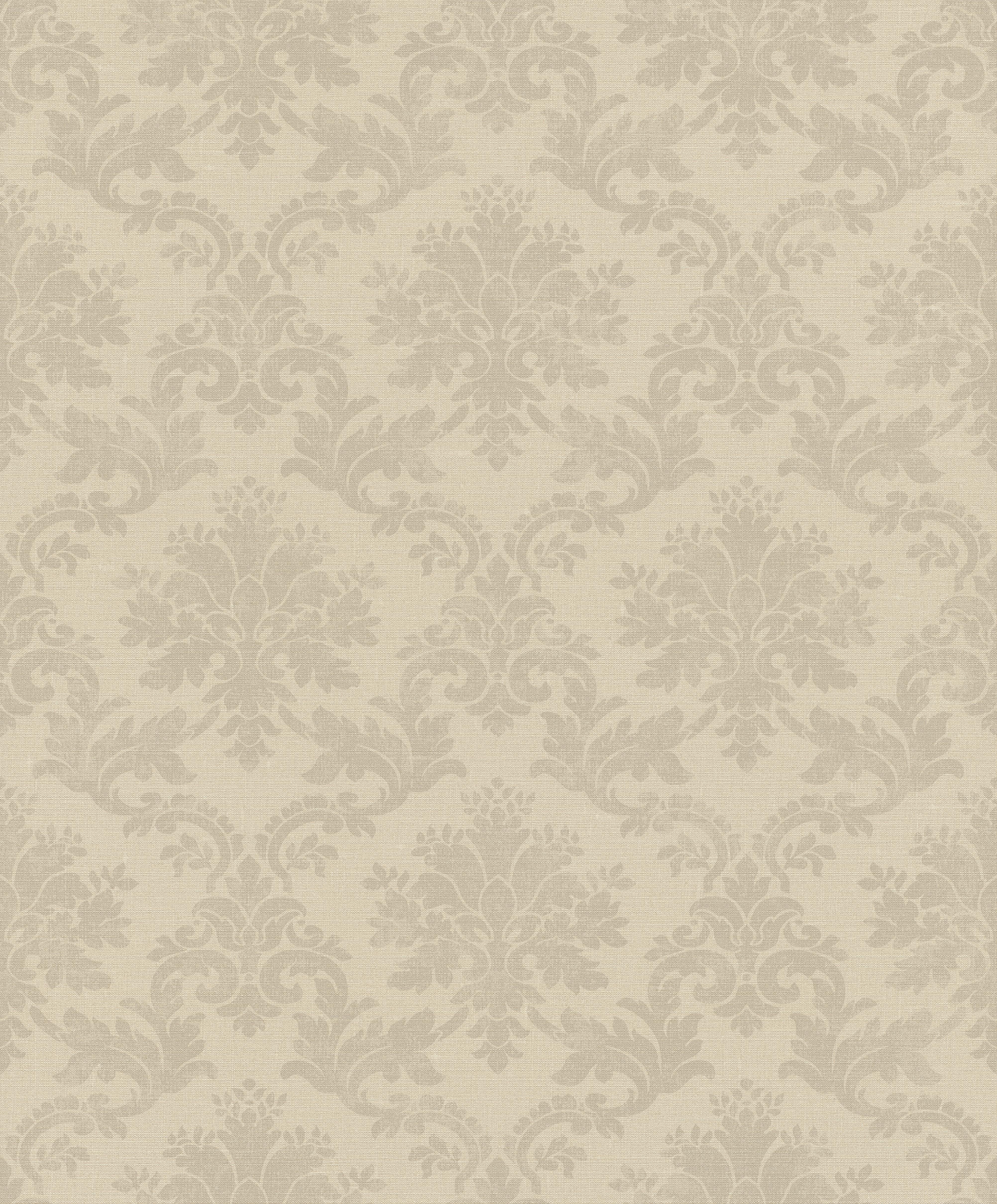 Anyagában struktúrált barokk mintás barna színű tapéta