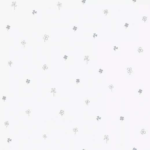 Apró lohere mintás gyerek tapéta törtfehér, ezüst színekkel