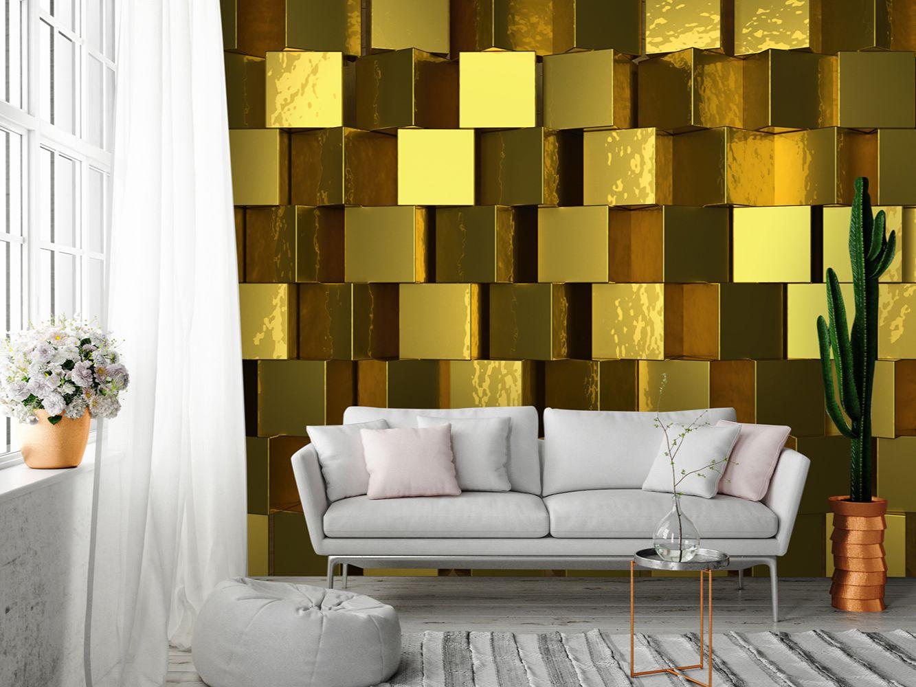 Arany kockák 3D hatású fali poszter