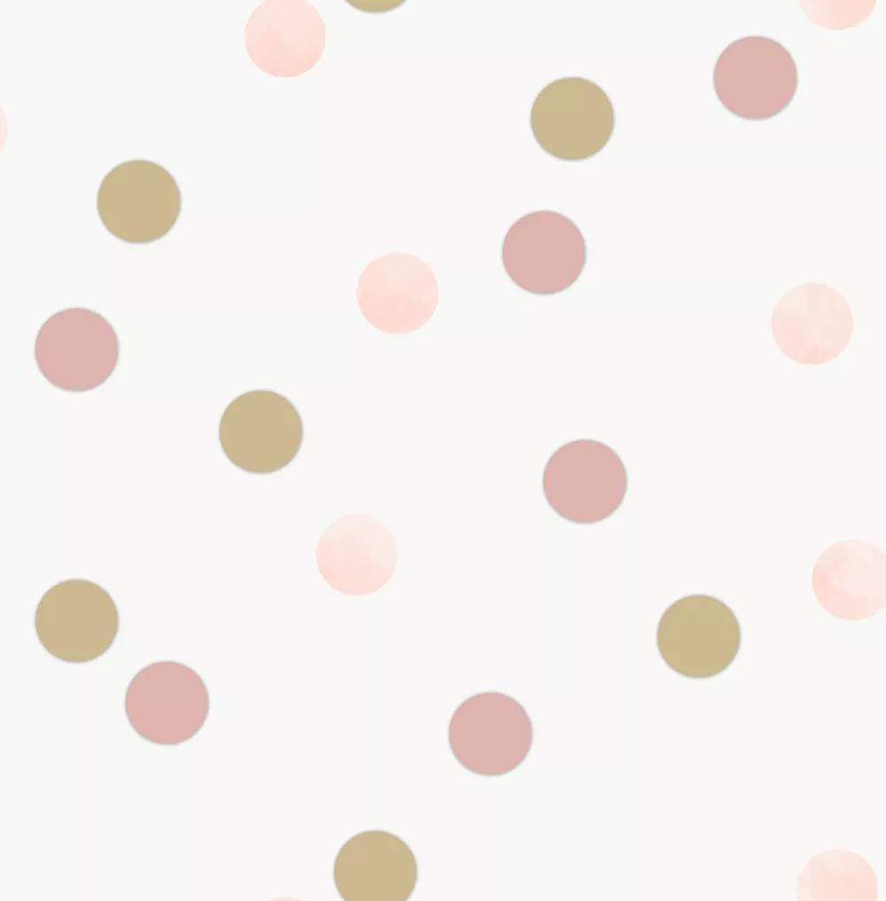 Arany, rózsaszín pöttyös mintás vlies gyerektapéta