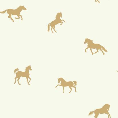 Arany színű lovacska mintás gyerek tapéta