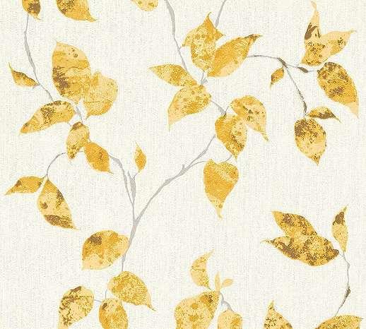 Aranysárga levélmintás vlies tapéta