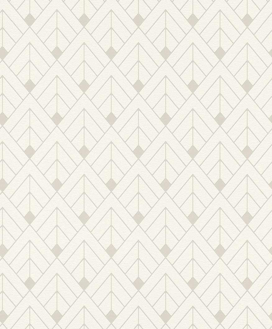 Art deco mintás fehér-ezüst vlies tapéta