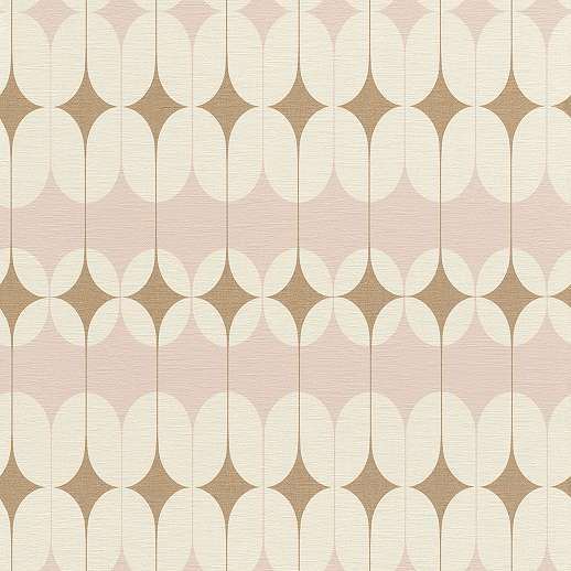 Artdeco tapéta, arany, rózsaszín mintákkal