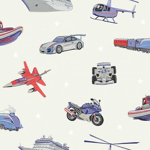 Autó, motor, repülő, vonat, hajó gyerek tapéta kék piros színvilágban