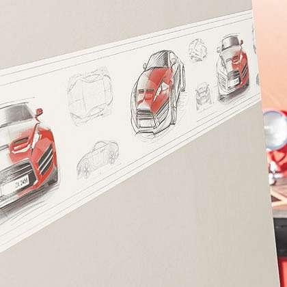 Autós bordűr piros színben gyerekszobába