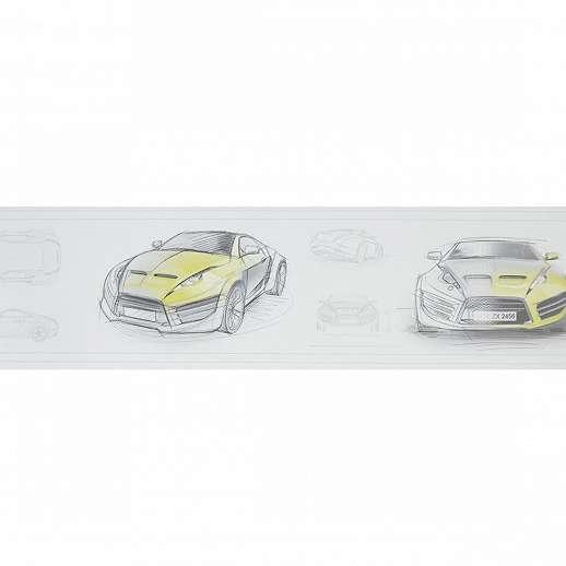 Autós bordűr sárga színben gyerekszobába