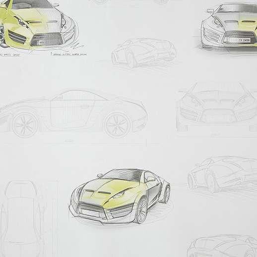 Autós gyerek tapéta sárga autókkal