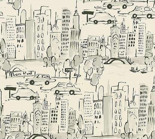 Autós város mintás gyerektapéta fekete krém színben