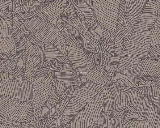 Barna alapon nagy mintázatú levél mintás tapéta