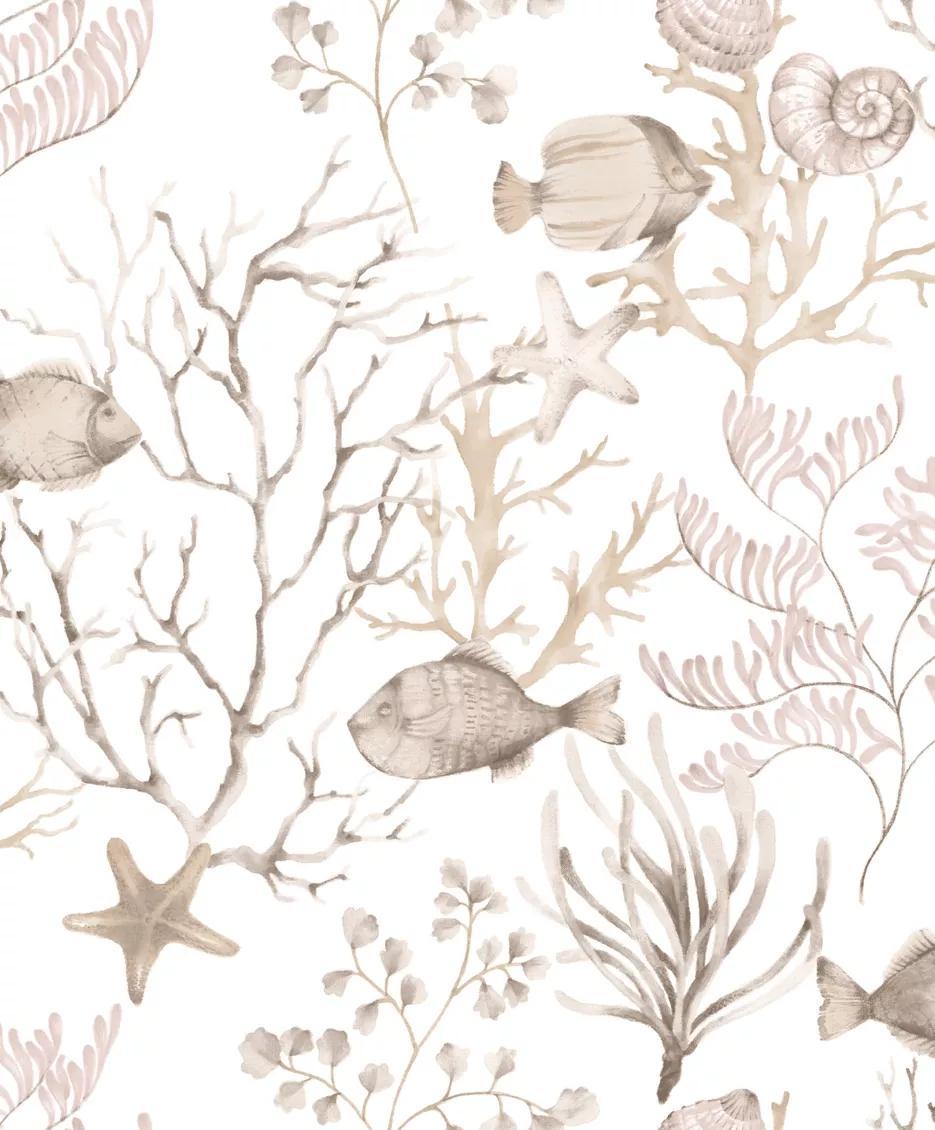 Barna-bézs tengeri élővilág mintás vlies tapéta