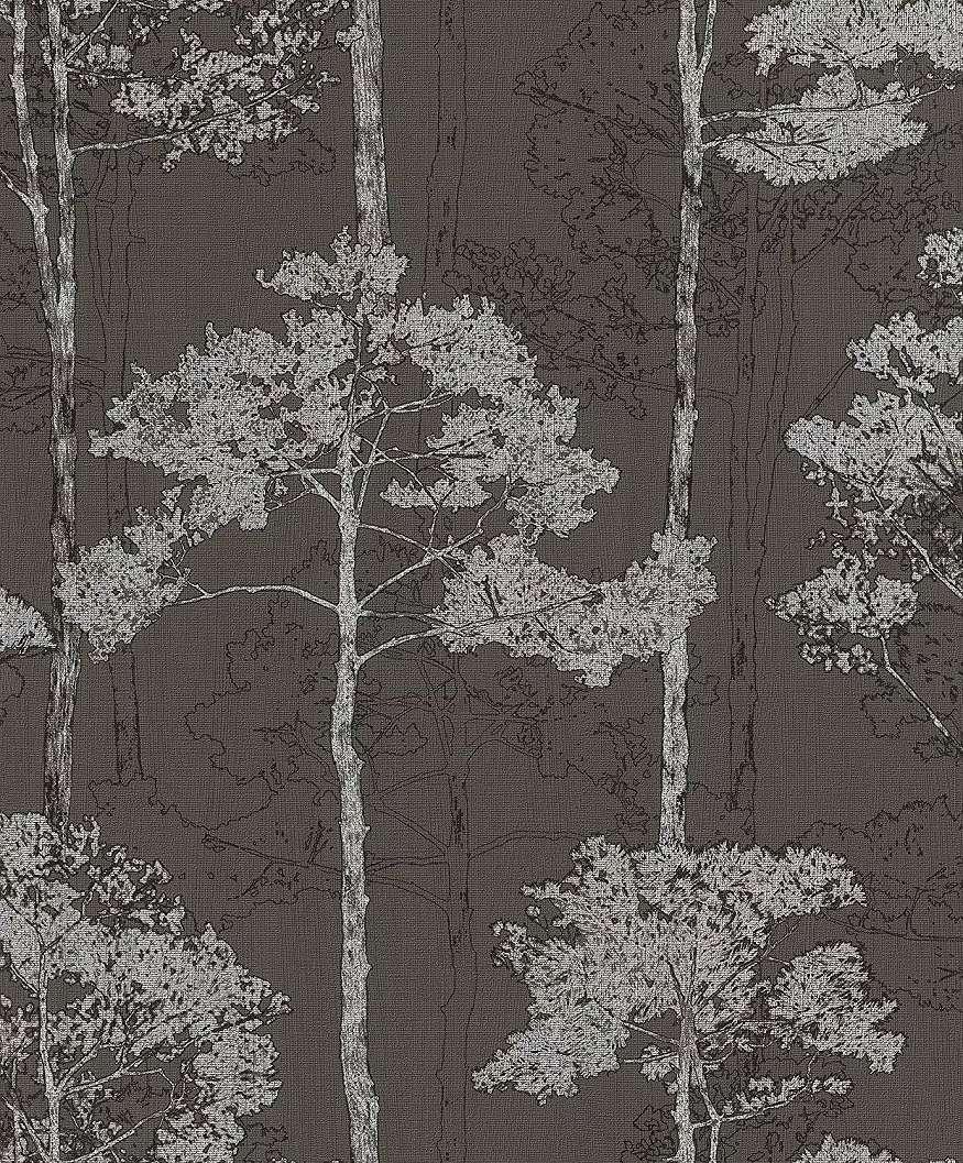 Barna ezüst erdei fa mintás tapéta