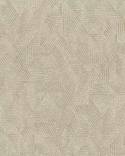 Barna geometrikus mintás vlies tapéta textil szőtt hatású mintával