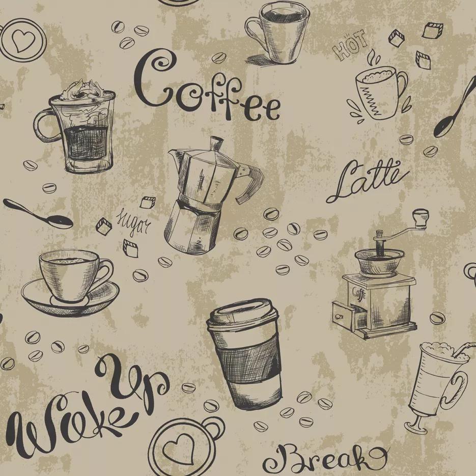 Barna kávé felirat mintás vlies tapéta