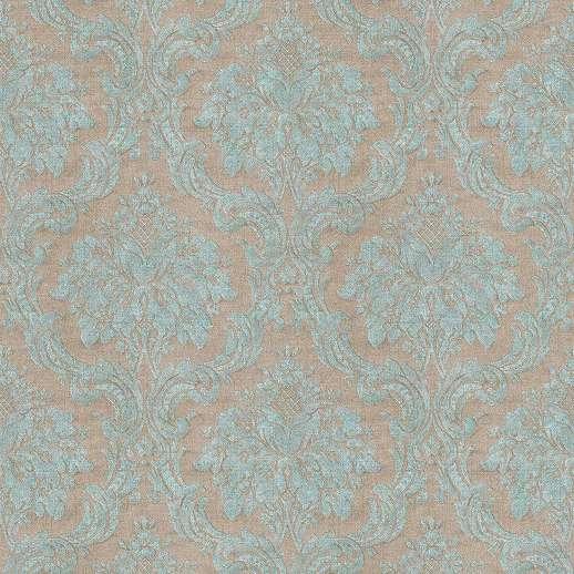 Barna-kék klasszikus stílusú barokk mintás vlies tapéta