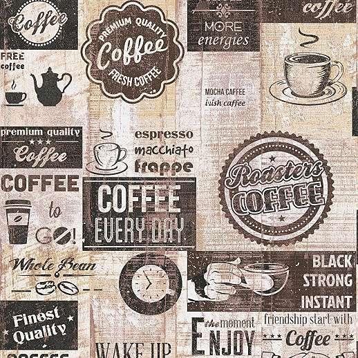 Barna krém konyhai kávé mintás dekor tapéta