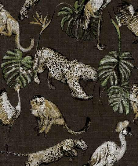 Barna orientális stílusú luxus tapéta egzotikus állat mintával