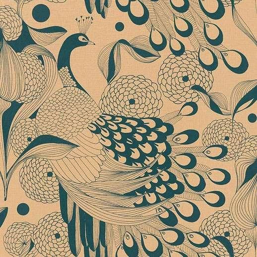 Barna páva mintás vlies dekor tapéta